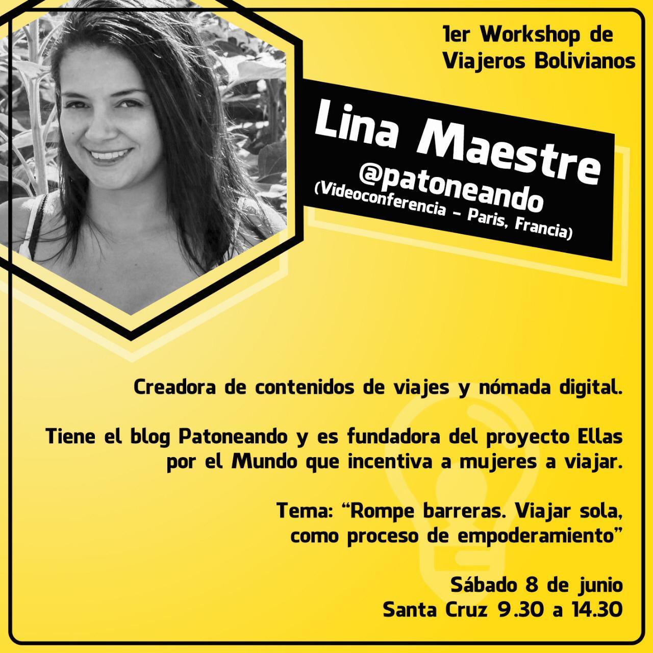 Videoconferencia workshop viajeros Bolivia por Lina Maestre
