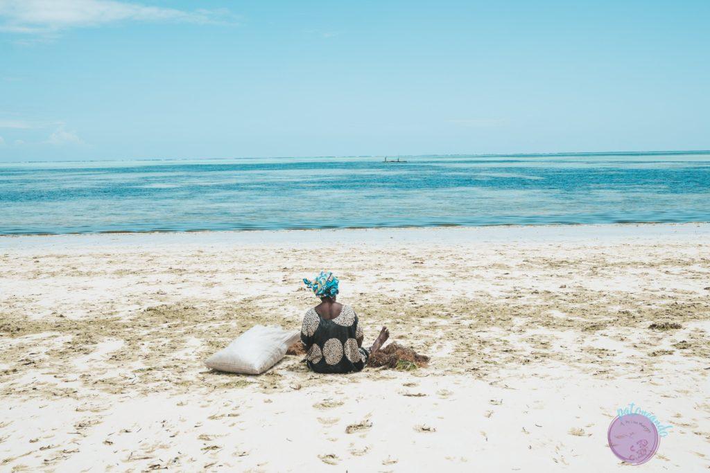 Consejos para viajar a Zanzibar -mujer recogiendo algas en zanzibar - Patoneando blog de viajes
